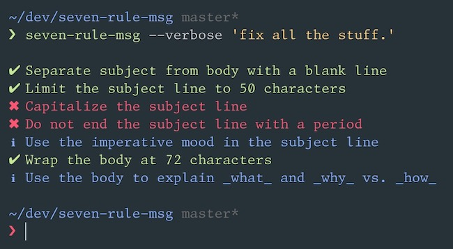 `seven-rule-msg` in action