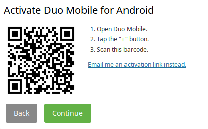 'Activate Duo Mobile for Android' followed by a QR code and a set of instructions